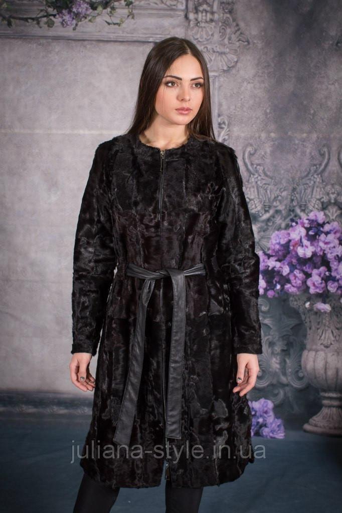 Элегантное пальто из натуральной каракульчи