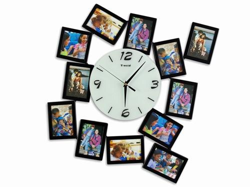 Часы на стену семейные с рамками для фото