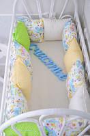 """Комплект """"Классик"""" Пикассо в кроватку: 12 подушек-бортиков + 12 наволочек + простынь на резинке 120*60 см ТМ MagBaby"""