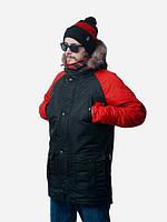 Зимняя теплая мужская куртка ( парка ) ALASKA RB ( черная / красная) 010021417-14