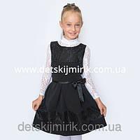 """Сарафан-платье с гипюром для девочки """"Мечтательница"""" (Черный)"""