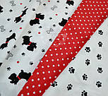 """Ткань хлопковая """"Собачки с красными ошейниками"""" № 549а, фото 2"""