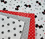 """Ткань хлопковая """"Собачки с красными ошейниками"""" № 549а, фото 4"""