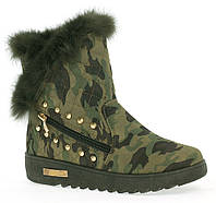 Зимние ботинки цвета хаки