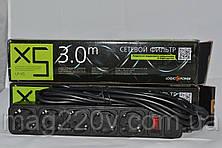 Удлинитель электрический с фильтром питания 5 розеток 3 м черный