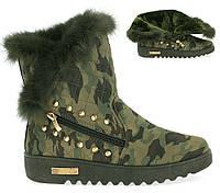 Модные,красивые женские ботинки цвета хаки, фото 1