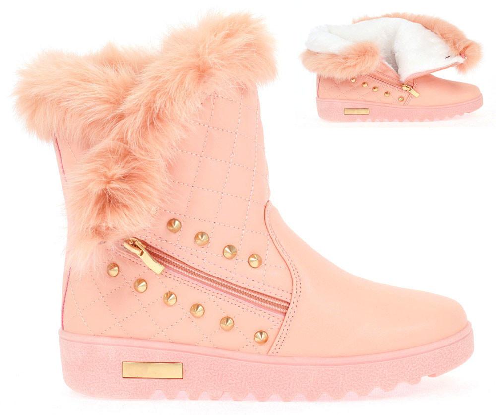 Нежно розовые,зимние женские ботинки  36-41
