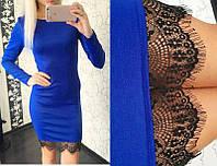 Женское Платье трикотажное с кружевом