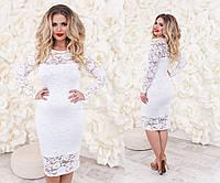 Женское платье большого размера из гипюра белого цвета
