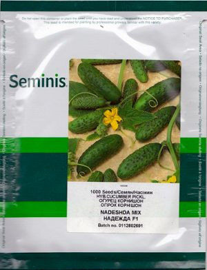 Семена огурца Надежда F1 1000 семян / Seminis - пчелоопыляемый, ультра-ранний гибрид (38-40 дней)