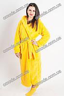 Подростковый яркий халат желтого цвета для девочки, СОФТ махра
