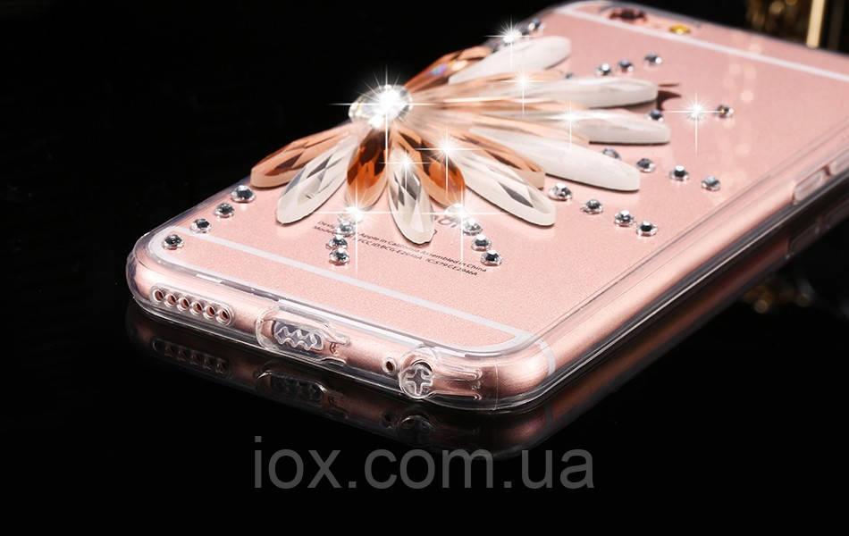 Силіконовий TPU чехол Квітка з камінням Сваровські для Iphone 6/6s