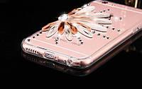 Силіконовий TPU чехол Квітка з камінням Сваровські для Iphone 6/6s, фото 1