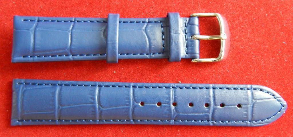 Ремешок кожаный BROS (ИТАЛИЯ) темно-синий рельеф 20 мм
