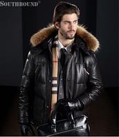 Мужской зимний кожаный пуховик. Модель 1056