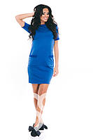 Ярко-синее трикотажное  повседневное платье с карманами