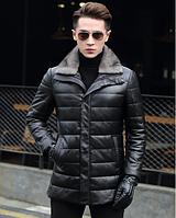 Мужская зимняя кожаная куртка. Модель 1057