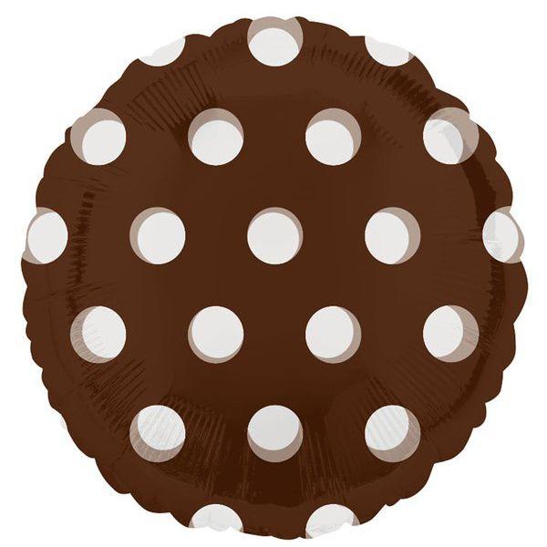 Фольгированный шар в крупный горох, коричневый