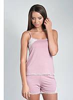 Пижама ELLEN из вискозы с кружевом (розовая)