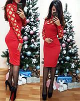Женское платье из дайвинга с перфорацией красного цвета