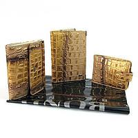 Подарочный набор женский натуральная кожа (обложка, кошелек, визитница) Bond 1004-338 Турция