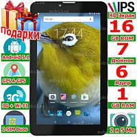 Планшет смартфон LENOVO Tab 7 IPS 2 сим 6 ядер 7 дюймов ОЗУ 1 Gb ROM 16 Gb 3G 5 Мп Android 5.1 GPS 3000 mAh