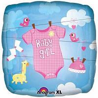"""Фольгированный шар с надписью """"Baby Girl"""" необычной формы"""