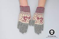 Шерстяные перчатки, перчатки из ангорки, перчатки с оленями
