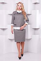Стильный женский бежевый  костюм Дуэт  48-54 размеры
