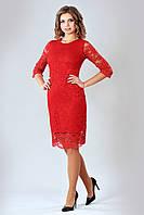 Кружевное женское платье красного цвета