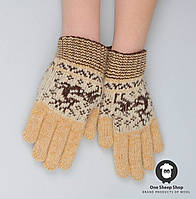 Шерстяные перчатки, перчатки из ангорки, перчатки с оленями , фото 1