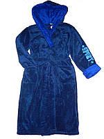 Мужской махровый халат с капюшоном синего цвета Sport