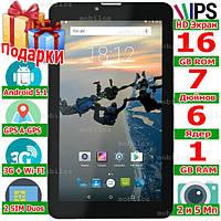 Навигатор Планшет 2 сим LENOVO Tab 7 HD 7 дюймов Ram 1 Gb Rom 16 Gb Андроид 5.1 GPS 2 sim 3 G 3000 mAh Леново