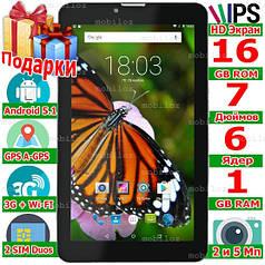 Игровой 3G планшет IPS LENOVO Tab 7 GPS 6 ядер 2 Sim ОЗУ 1 Gb ROM 16 Gb 5 Мп Android 5.1 OTG 2 cим Подарки