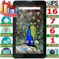 6 ядер Планшет LENOVO TAB 7 Навигатор GPS 2 sim ОЗУ 1 Гб Rom 16 Гб Андроид 5.1 IPS 2 сим 3G 3000 mAh 2 Подарка