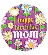 """Фольгированный шар с надписью""""Happy birthday, mom"""""""