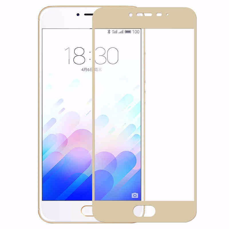 Защитное стекло Meizu M3s / M3 / M3 mini full cover gold