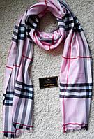 Красивый шарф/палантин Burbberry, Бёрберри (ярко-розовый) с вышитыми логотипами