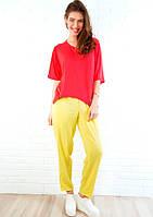 Желтые летние брюки из хлопка