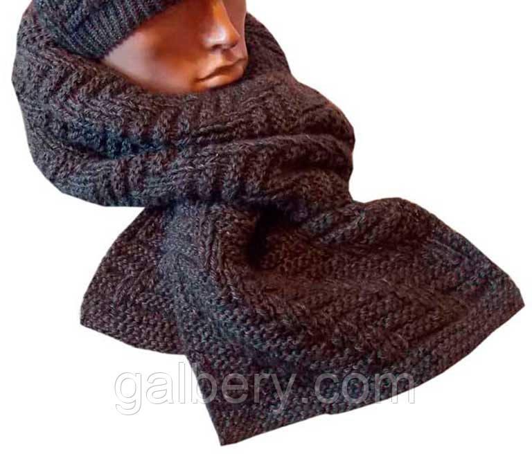 Вязаный шарф - петля антрацитного , цвета объемной ручной вязки