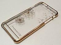 Чехол пластиковый для iPhone 6/6s прозрачный с узором одуванчик золотой