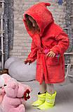 Халат ушки с поясом плюшевый (очень мягкий )девочка+мальчик , цвет-коралл, фото 2