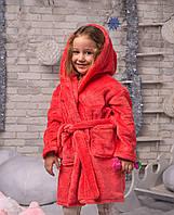 Халат ушки с поясом плюшевый (очень мягкий )девочка+мальчик , цвет-коралл