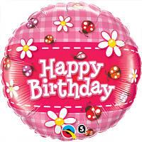 """Фольгированный шар с надписью """"Happy birthday"""" коровки и ромашки"""