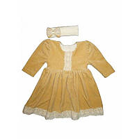 Платье нарядное Аріна д.р. с повязкой Велюр цвет белый, молочный, кофейный  размер 74-86 Бетис