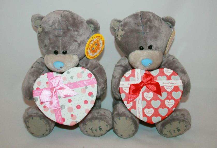 Мишка плюшевый Тедди с коробкой для подарка Сонечко