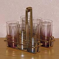 Набор стаканов, рюмок 120 мл из цветного стекла в подставке-переноске 6 шт.