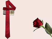Мужской узкий галстук, бордовый artuz1-002