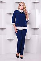 Стильный женский брючный синий костюм 1130    48-54  размеры
