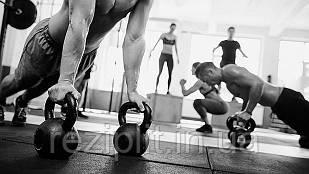 Резиновая плитка для тренажерных залов и фитнеса